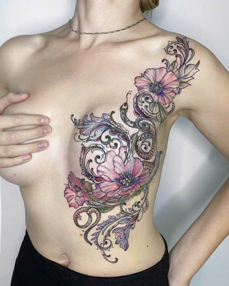 Пример № 3 перекрытие шрама тату