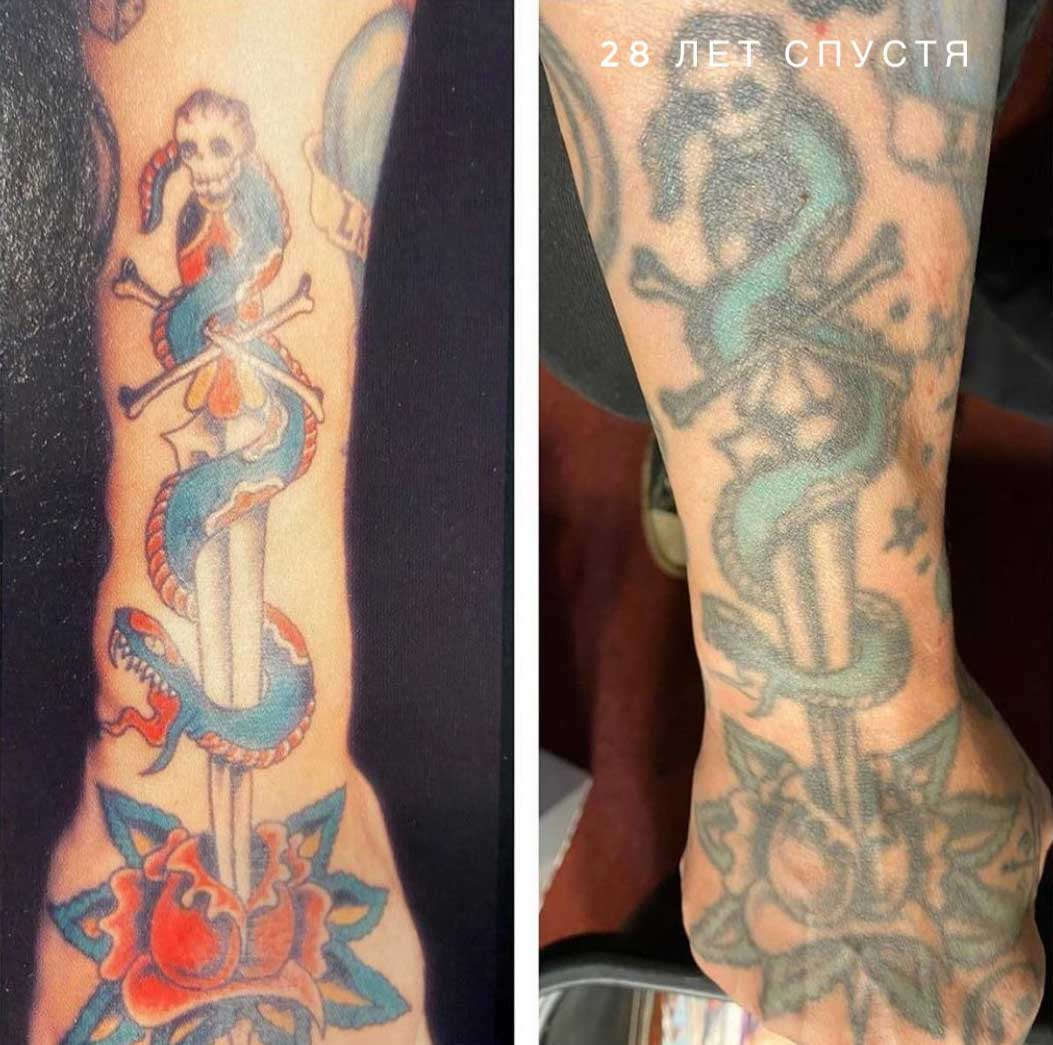 Как выглядят татуировки через время в стиле олдскул